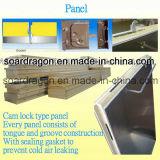 Unidade de condensação de congelamento e quarto frio com painel de bloqueio de cam