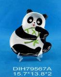 Placa pintada a mano de cerámica Panda-Shaped de la galleta/del caramelo/de la empanada
