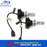 Bulbos do farol do diodo emissor de luz da ampola 50W do diodo emissor de luz 6000lm a Philips X3 H7 para a luz 6000k da cabeça do carro