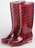 Ботинки дождя повелительниц высокого качества рынка Чили прозрачные резиновый единственные