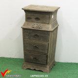 Cabinete de archivo tallado floral de madera de 4 cajones