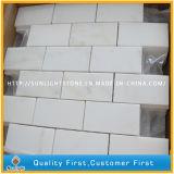 Mosaico de mármore branco natural da parede de pedra de Carrara, telhas brancas do mosaico
