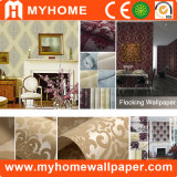 2017 Hot Sale Interior Luxury Flocking Wallpaper para Decoração para o lar
