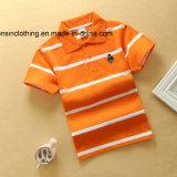 짧은 소매 줄무늬 접어젖힌 옷깃 아이들 폴로 t-셔츠