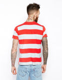 T-shirt rayé de coton fait sur commande du Mens 100 avec la poche