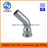 Os encaixes inoxidáveis da imprensa da tubulação de aço da venda quente escolhem a compressão cotovelo de 45 graus