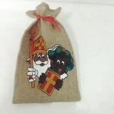 Weihnachtsjutefaserdrawstring-Geschenk-Beutel