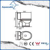Toilette duelle en deux pièces de lavage à grande eau dans le blanc (ACT6833)