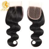 Parte 100% della metà della chiusura del merletto dei capelli umani 4*4 del Virgin