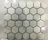 Mosaïque grise de marbre d'hexagone des graines en bois