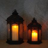Linterna decorativa negra con la luz de la vela del LED para la decoración casera y al aire libre