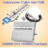 Aumentador de presión elegante del amplificador 3G Lte 4G del repetidor de la señal del G/M del teléfono móvil 900/1800MHz de la inteligencia completa