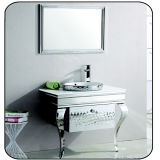Vanidad clásica del cuarto de baño del acero inoxidable con el espejo