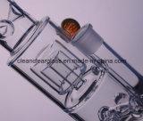 Conduite d'eau en verre de fève en verre épaisse en gros de qualité avec la fleur