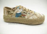 Высокое качество вскользь шнурует вверх ботинки Espadrilles с верхушкой яркия блеска (ET-FEK160123W)