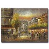 Peinture à l'huile décorative de toile d'art de rue de Paris d'art de mur d'hôtel