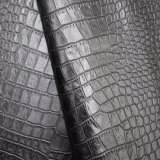 黒いカラーワニの皮パターン人工的なPUの靴革