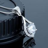 Colar de cristal branca do pendente da prata esterlina das mulheres 925 com corrente
