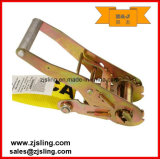 "En12195-2 2 ""Double J Hook Ratchet Strap 2"" X 12 'Yellow"