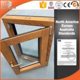 inclinaison en aluminium Windows, aluminium thermique plaqué Windows s'ouvrant vers l'intérieur des graines 3D en bois d'interruption en bois solide