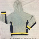 Velo cinzento Hoodies do bebé do amarelo do contraste com Zipper Sq-6442