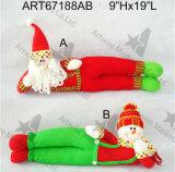 """9 """" Hx19 """" L decoração Gift-2asst. do Natal de Doorstopper do boneco de neve de Santa"""