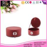 Caixa extravagante feita sob encomenda do cosmético da cor vermelha de forma redonda do fabricante de China
