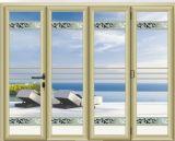 Porte de pliage en aluminium de profil de conception moderne de Chambre avec le verre trempé creux