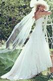 Luvas do tampão do vestido de casamento do laço que perlam o vestido de casamento nupcial 2017 H5209
