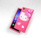 Caja rosada y blanca del corazón del gato del gatito del PUNTO de la raya del silicón del teléfono celular (XSK-016)