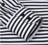 Zwart-wit Overhemd met Verticale en Horizontale Streep Acrossed