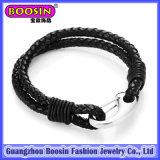 Kundenspezifisches ledernes Legierungs-Anker-Armband für Männer #578