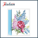 Sac de papier de achat stratifié mat de cadeau de rétro fleurs de papier en ivoire