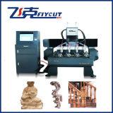Máquina rotatoria y plana de 7009X900m m tamaño pequeño del CNC del grabador del CNC de grabado con 4 cabezas