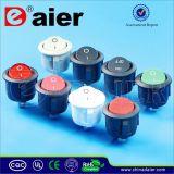 백색 또는 Black/Red Actuator Colored Round Kcd11 Rocker Switch