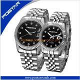 Montre suisse de quartz de datte de jour de montre-bracelet de plein d'acier inoxydable amoureux de couples