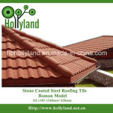A folha ondulada da telhadura com pedra revestiu (a telha romana)