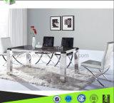 家具の工場を食事する新しい現代正方形のガラスダイニングテーブルの椅子