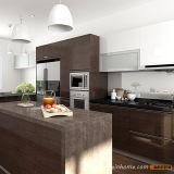 Hölzerner Furnier-Blattgroßverkauf-Küche-acrylsauerschrank mit Insel (OP15-WV03)