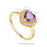 Anel de prata da jóia do chapeamento de ouro 925 luxuosos (R-0608)