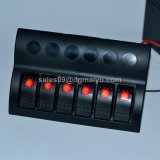 6 gruppo 12V/24V Waterproof Rocker Switch Panel con Blue LED per Marine Boat Caravan + Auto Fuses