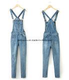 Pantalones totales de las mujeres del dril de algodón de la alta calidad de los pantalones vaqueros delgados clásicos de las señoras