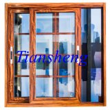 Color de madera cubierto polvo Windows de aluminio y puertas con la red de mosquito del acero inoxidable