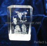 水晶立方体の写真フレームの肖像画3D結晶レーザーの彫版機械