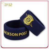 Bracelet de claque de silicones estampé par coutume de vente en gros de cadeau de promotion