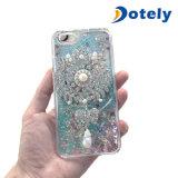 Disegno creativo di caso liquido con il coperchio della cassa del telefono della perla del diamante del girasole