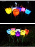 LEDの太陽動力を与えられた景色ランプ夜庭の装飾的なローズ多彩なライト
