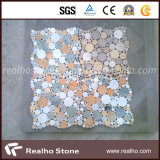 Azulejos de mosaico redondos blancos y negros del mármol del modelo para la piscina y la pared