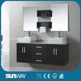 Mobilier de salle de bain en bois massif de style Amérique nouvelle avec double évier