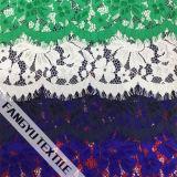 Tela colorida do laço do algodão de Strech para o vestido
